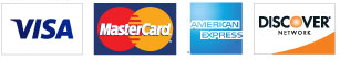 We accept Visa, MasterCard, Discover, American Express.